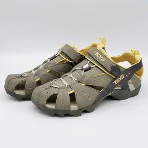 NWOT TEVA Gray and Yellow Sandals, size 9